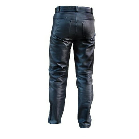New Men's Fashion Cowhide Leather Motorcycle Pants Jean Style - Youth Core Motorcycle Pants