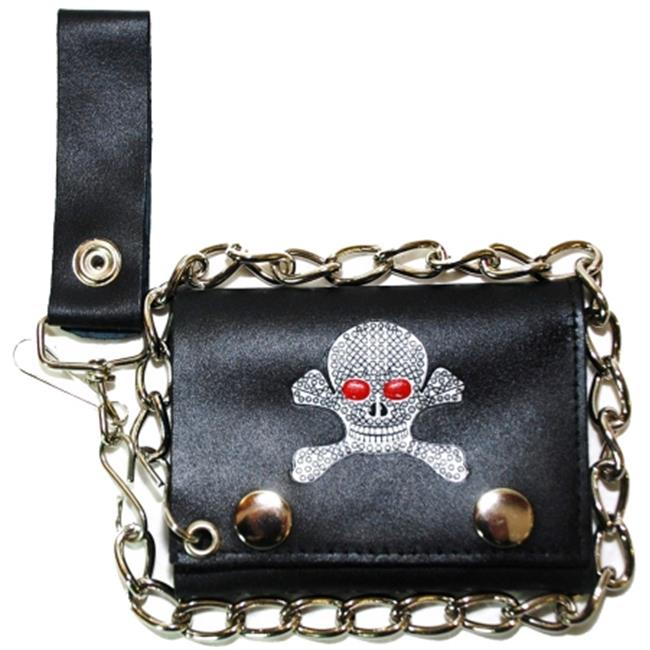 Leather In Chicago LICWB4-213 Trifold Chain Wallet 4. 5 x 3 inch Diamond Skull & Crossbones