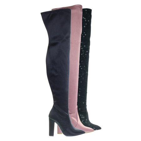 Madam07 by Bamboo, Stretchy Chunky Block Heel Thigh High OTK, Over-The-Knee Pointy Toe Boot - Red Thigh High Boots For Halloween