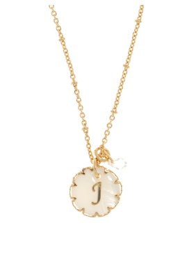 Mother of Pearl and Crystal Initial Pendant Necklace