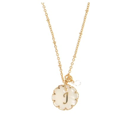 Mother of Pearl and Crystal Initial Pendant Necklace (Sonnenbrille Pearl)