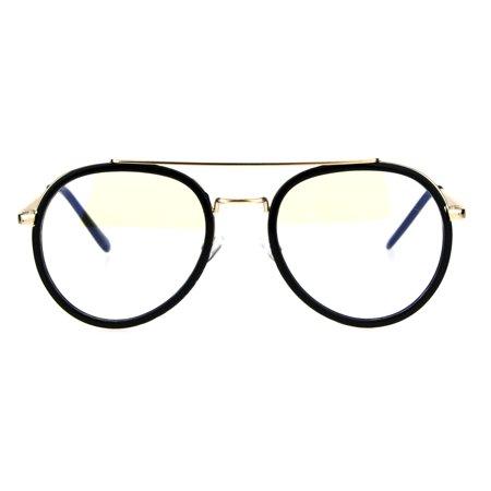 Retro Trend Plastic Metal Double Rim 90s Aviator Clear Lens Eye Glasses (Ray Ban Aviator Lenses Glass Or Plastic)