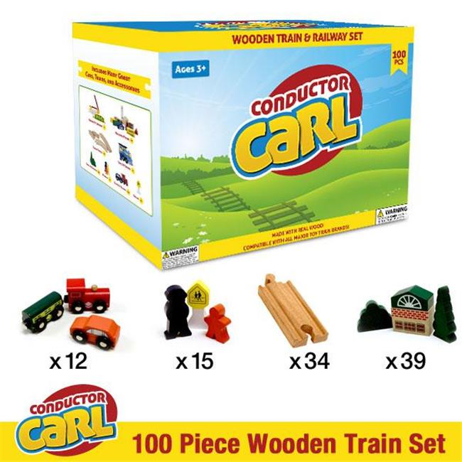 Conductor Carl Wooden Train TCON-201 Conductor Carl 100 Piece Wooden Train Set
