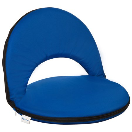 Alpcour Reclining Stadium Seat With Back Pocket Blue Portable Stadium Chair With Backs And Durable Waterproof Padded Cushion For Bleachers
