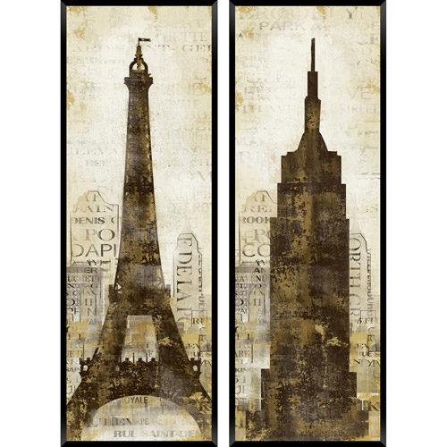City Scene: Paris and New York City, Set of 2