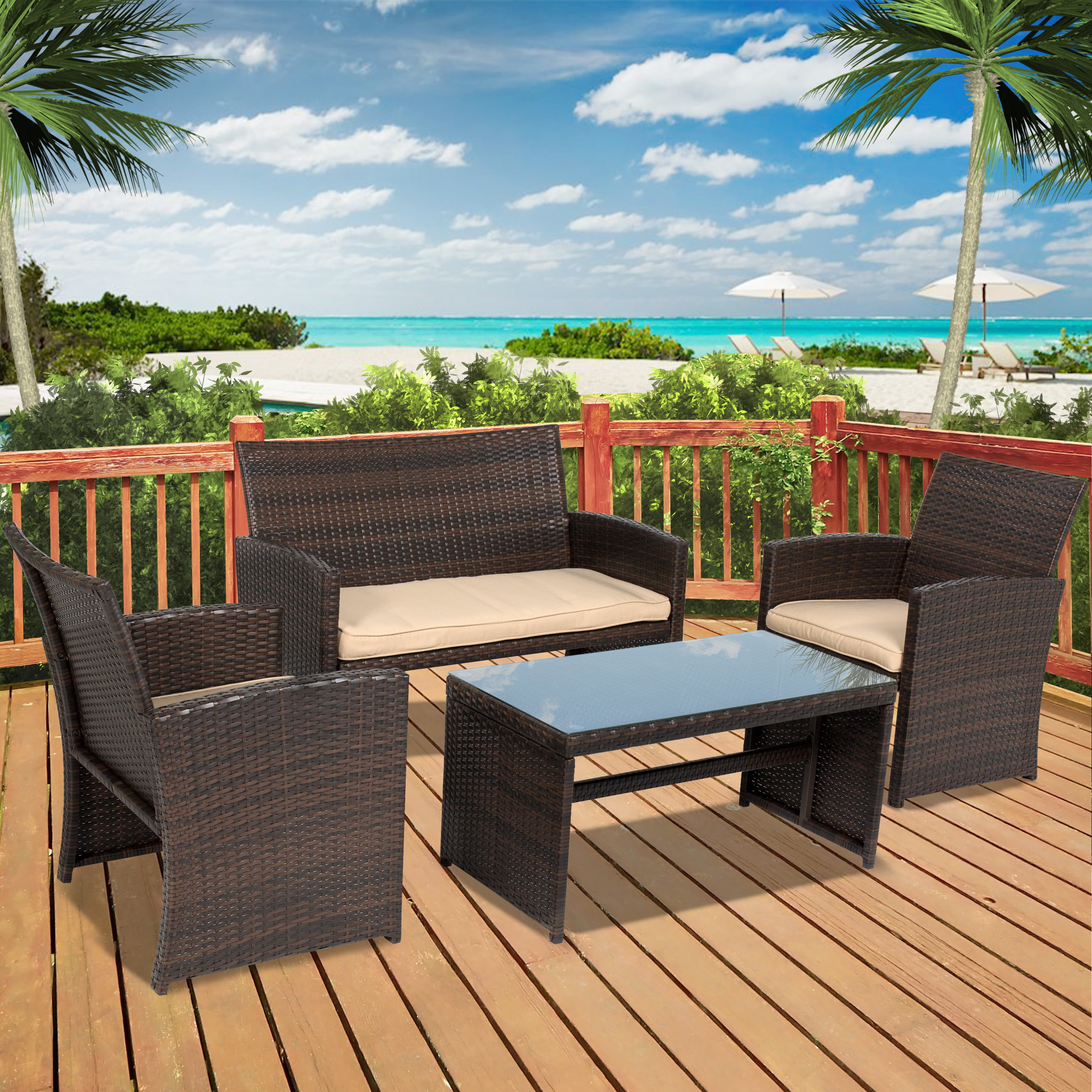 Best Choice Products 4pc Wicker Outdoor Patio Furniture Set Cushioned Seats by Patio Sets