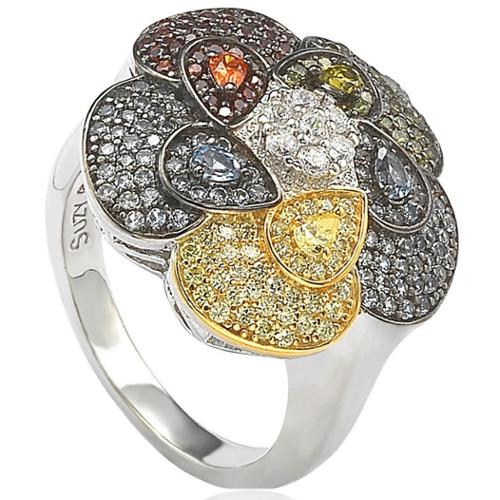 Suzy Levian  Pave Cubic Zirconia Sterling Silver Multi-Color Flower Ring