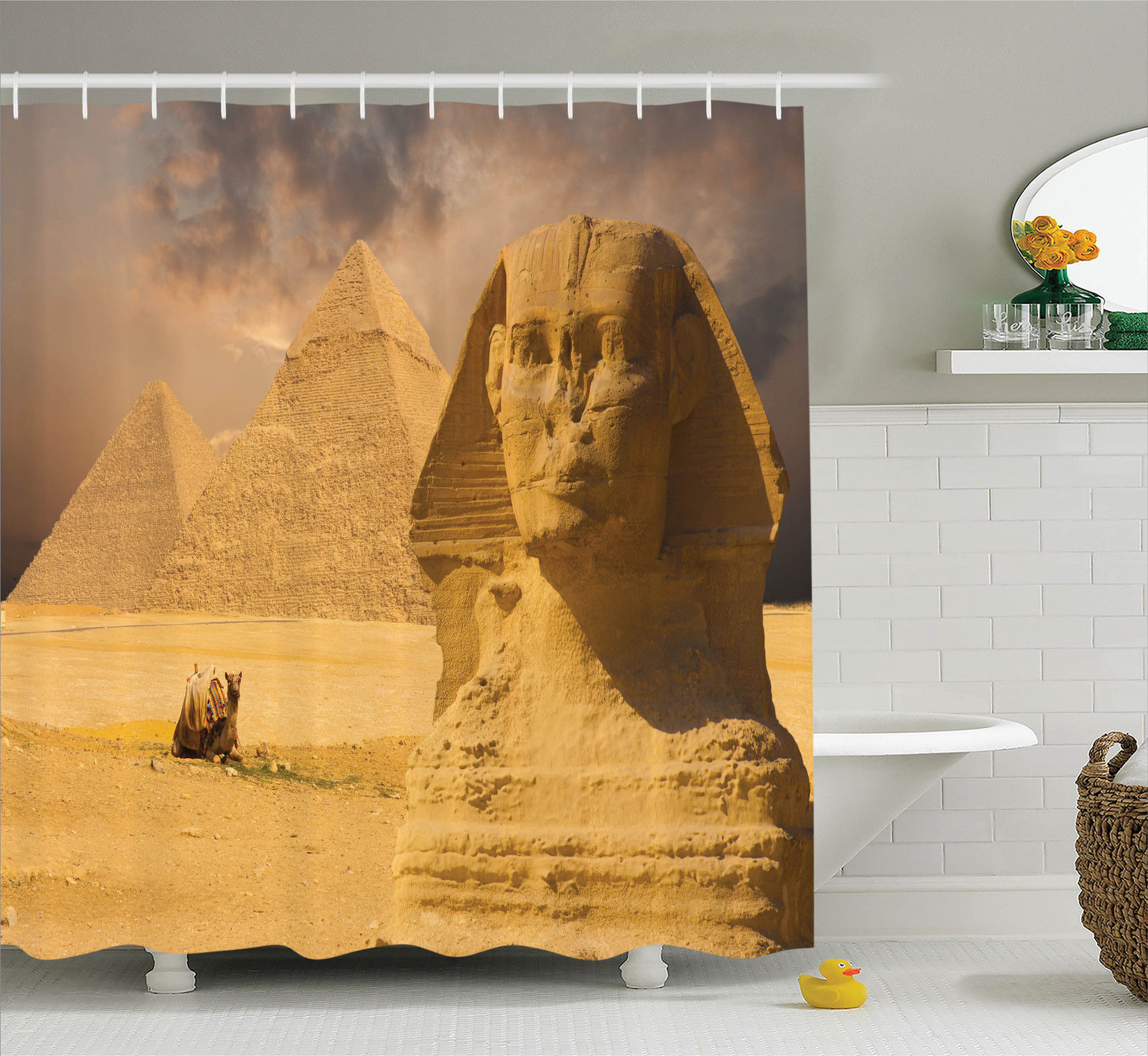 Egyptian Shower Curtain Great Sphinx Old Face Print for Bathroom
