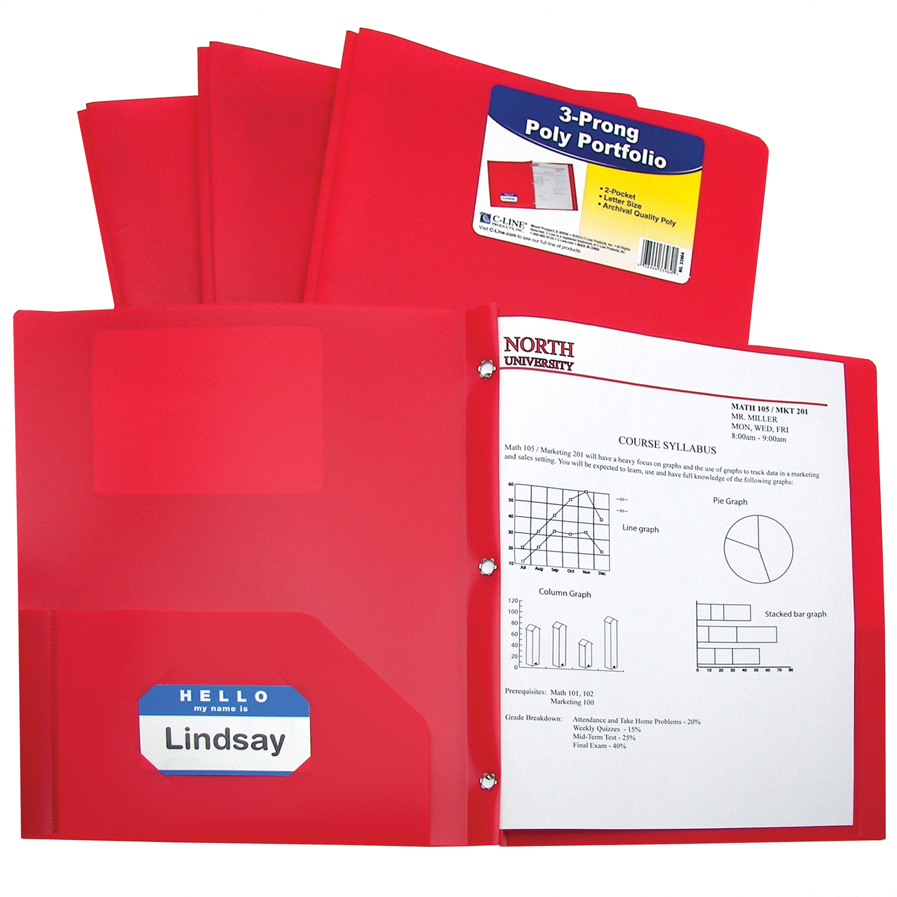 two pocket heavyweight poly portfolio folder with prongs