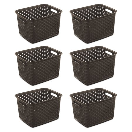 Sterilite 12736 Tall Wicker Weave Plastic Laundry Storage Basket, Brown (6