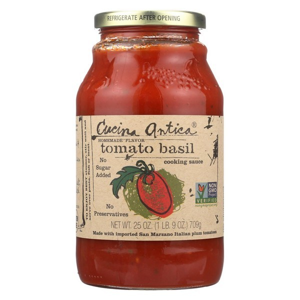 Cucina Antica Tomato Basil Cooking Sauce - Pack of 12 - 25 Oz.