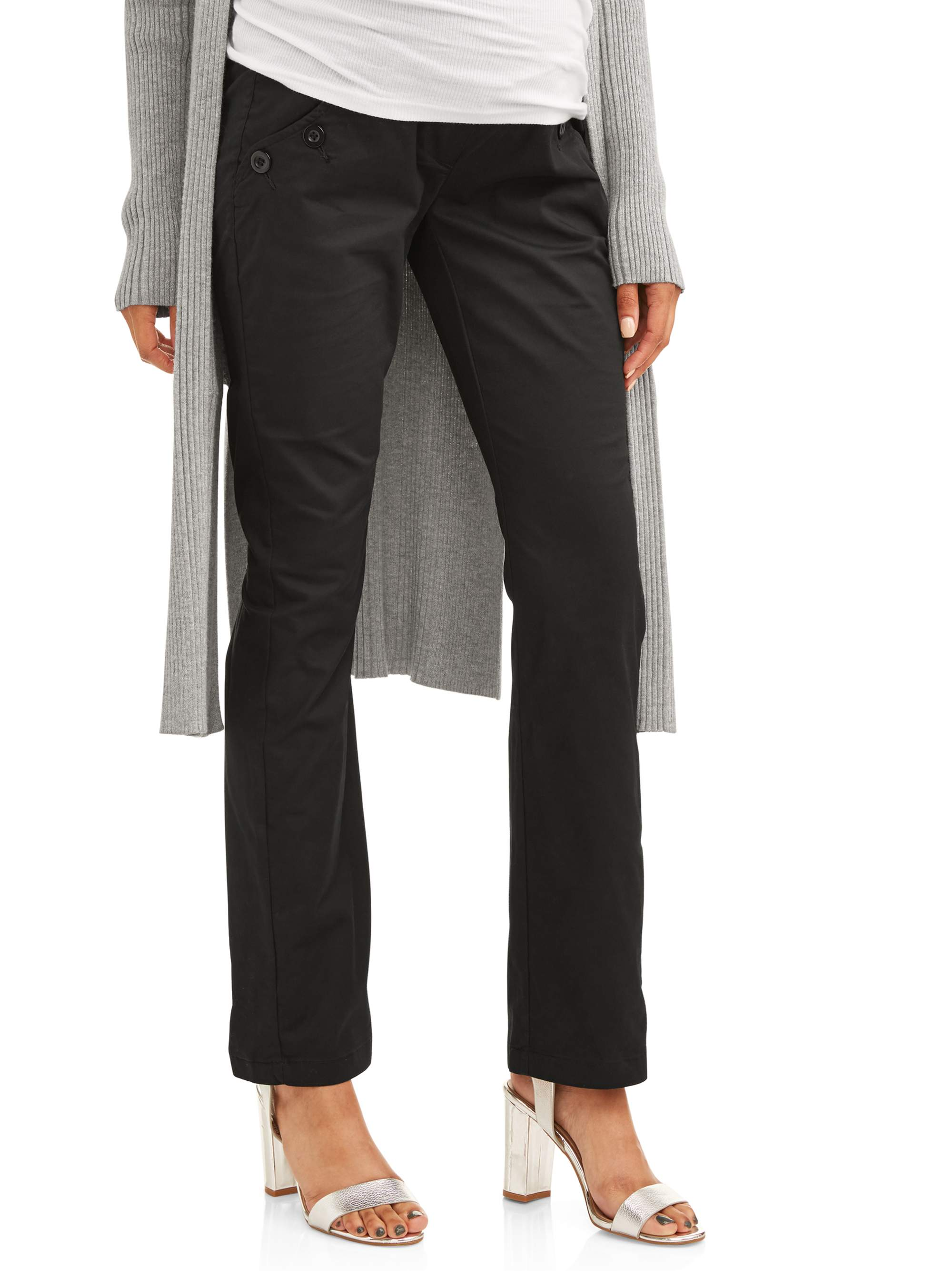 Full Panel Woven Maternity Pants With Button Front Curved Pockets by Jaax