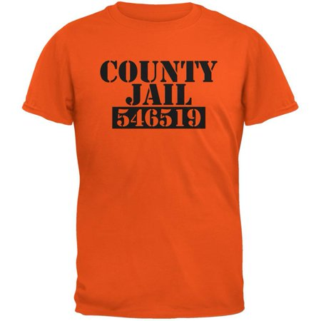 Halloween County Jail Inmate Costume Orange Adult T-Shirt - Large Orange County Graphics