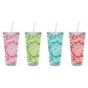 Cypress Home Felicia 20 oz. Insulated Tumbler with Burlap Insert (Set of 4)
