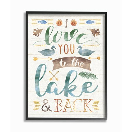 Any Decor (The Stupell Home Decor Collection I Love You To The Lake and Back Oversized Framed Giclee Texturized Art)