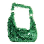 "17"" Diva Fashion Purse Large Green Hobo Handbag with Sequins and Fringe"