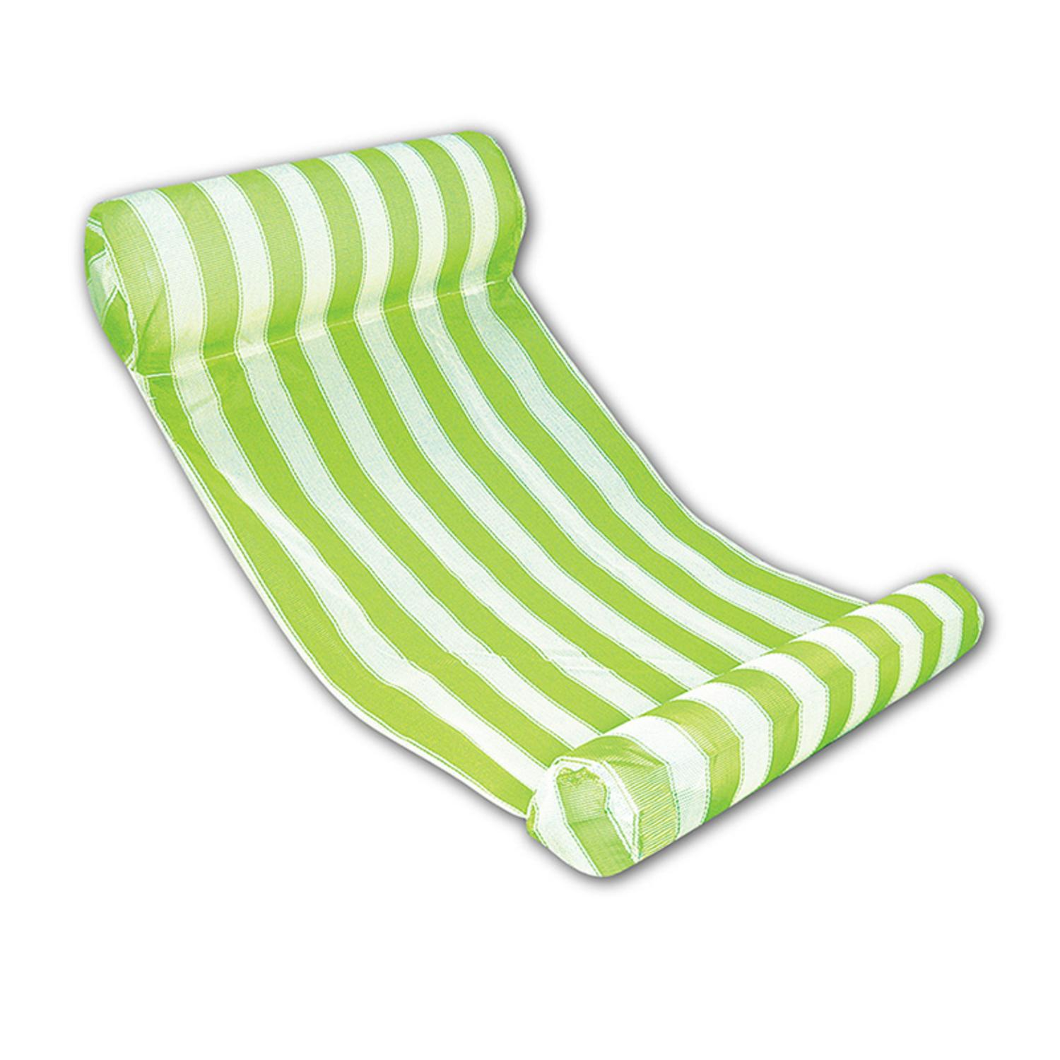 "51.75"" Green and White Striped Water Hammock Swimming Pool Lounger"