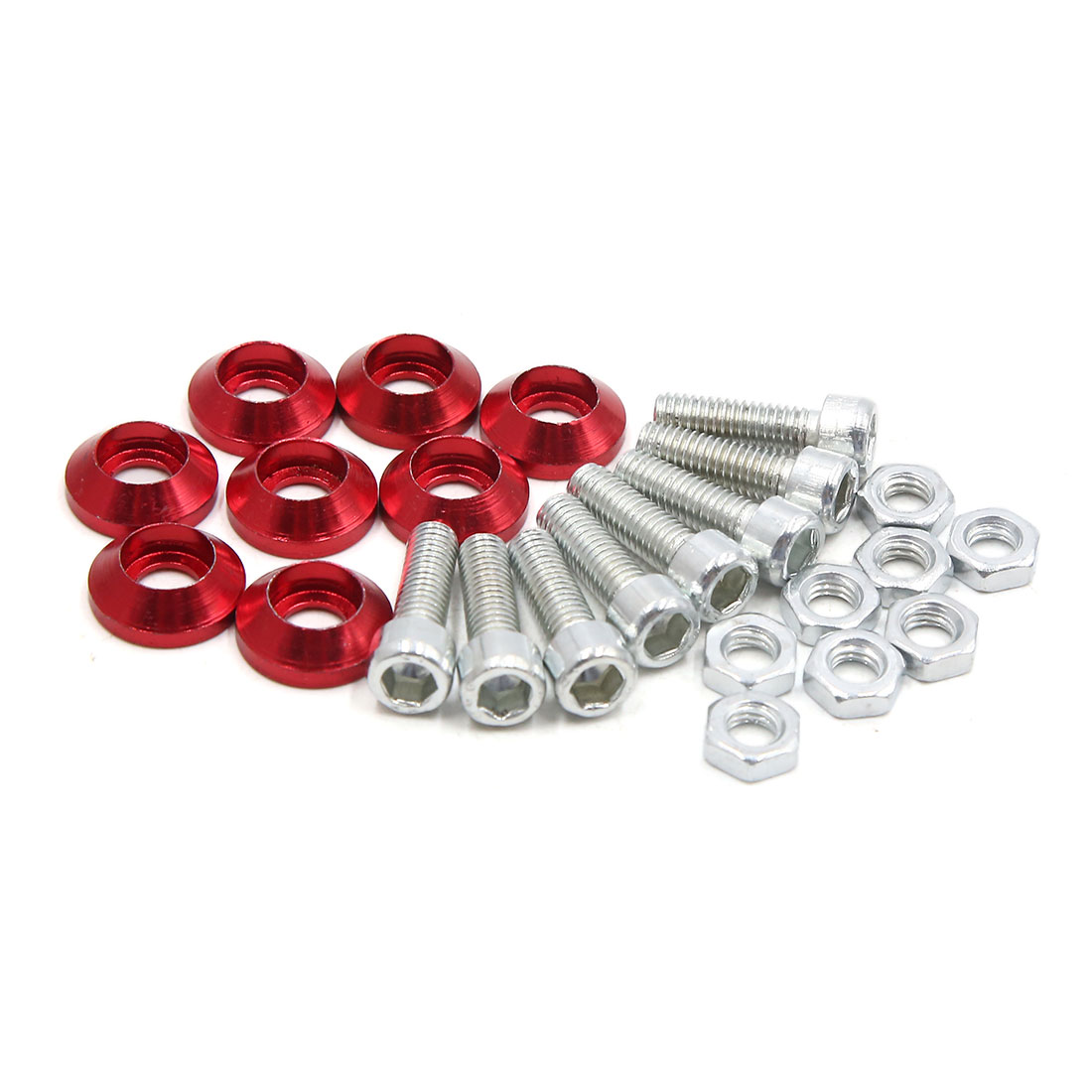 8pcs Red Aluminum Alloy Hex Socket License Plate Bolts Screws for Motorcycle