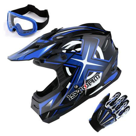 1Storm Adult Motocross Helmet BMX MX ATV Dirt Bike Helmet Racing Style HF801 + Goggle + Gloves Bundle; Sonic Blue Sa2005 Racing Helmet