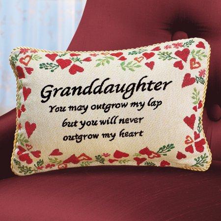 Never Outgrow My Heart Granddaughter Pillow Sentiment