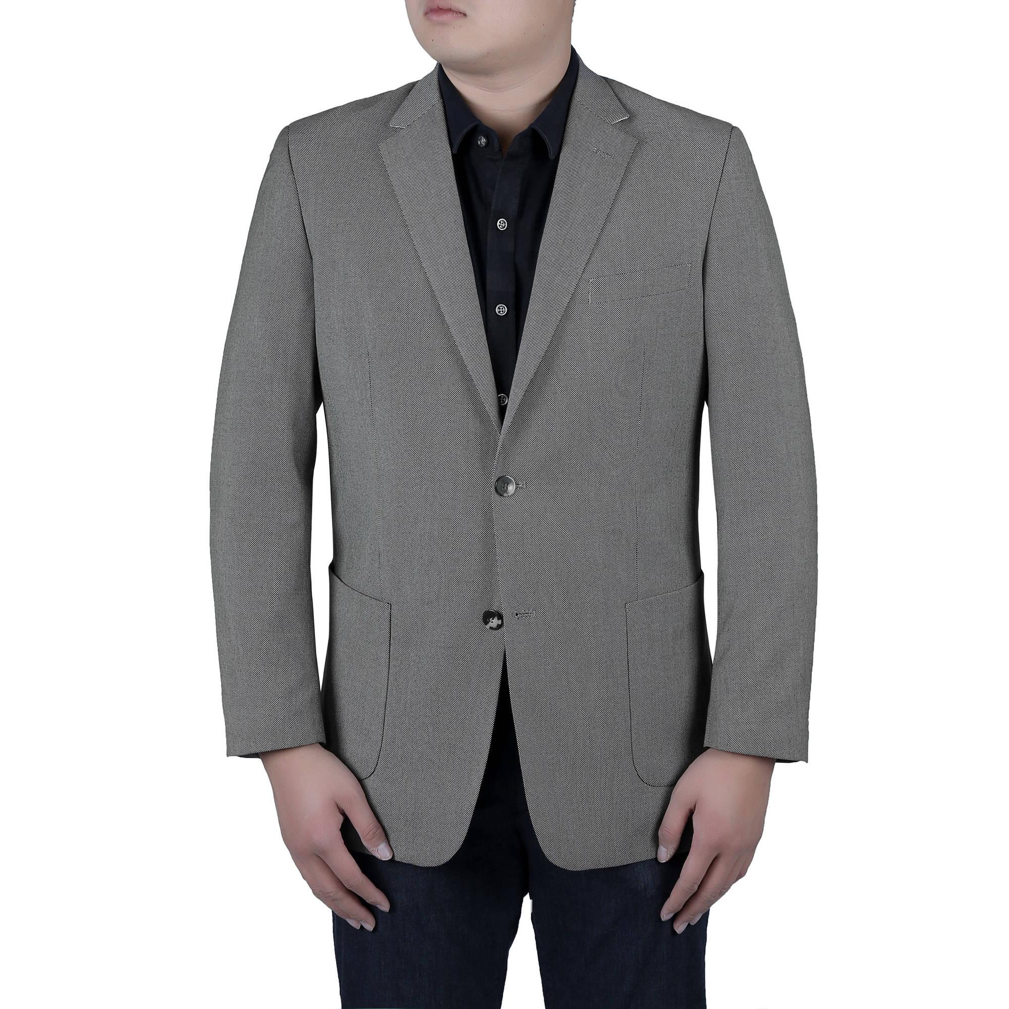 Verno Big Men's Grey and Black Birdseye Textured Classic Fit Italian Styled Blazer