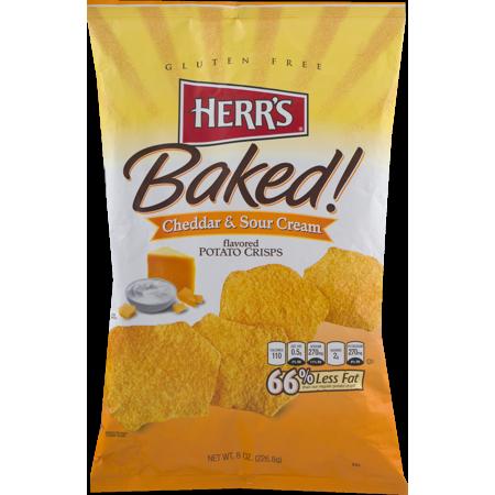 Herr's Cheddar & Sour Cream Baked Potato Crisps 8 oz. Bag-(4