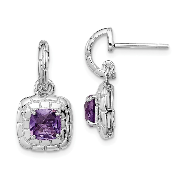Silver earrings 925 Amethyst natural stone ties sleeper type