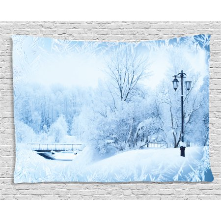 Winter Tapestry, Winter Trees in Wonderland Theme Christmas New Year Scenery Freezing Icy Weather, Wall Hanging for Bedroom Living Room Dorm Decor, 80W X 60L Inches, Blue White, by - Theme Winter Wonderland