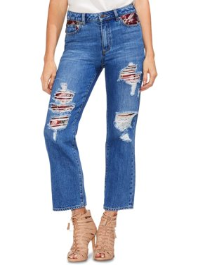Vince Camuto Womens High Rise Ankle Straight Crop Jeans