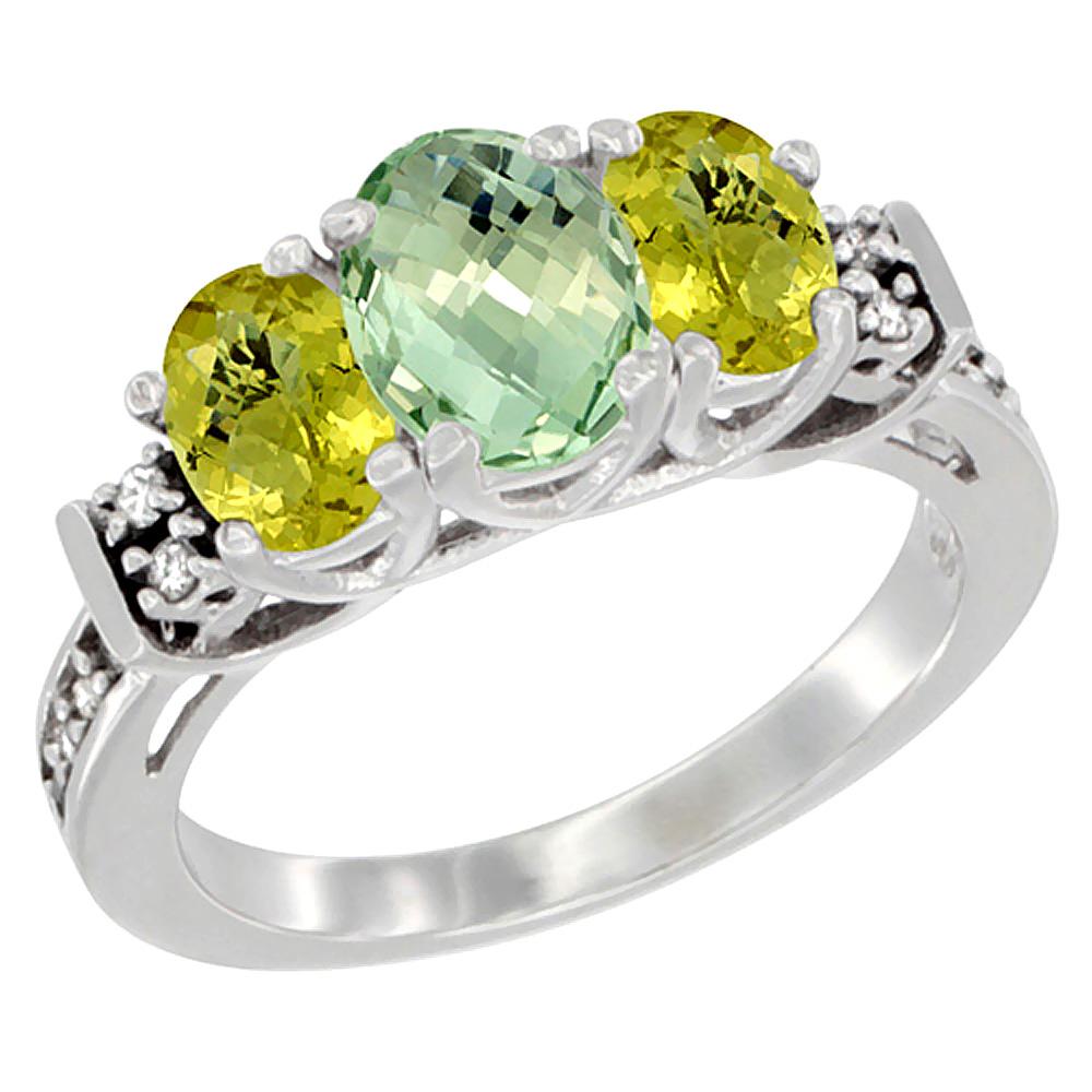 14K White Gold Natural Green Amethyst & Lemon Quartz Ring 3-Stone Oval Diamond Accent, sizes 5-10 by WorldJewels