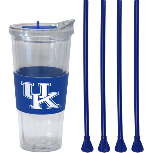 22oz NCAA Kentucky Wildcats Slider Top Tumbler with 4 Colored Replacement Straws