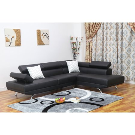 Sofia 2 pc Black Faux Leather Modern Living Room Right Facing Chaise Sectional Sofa set