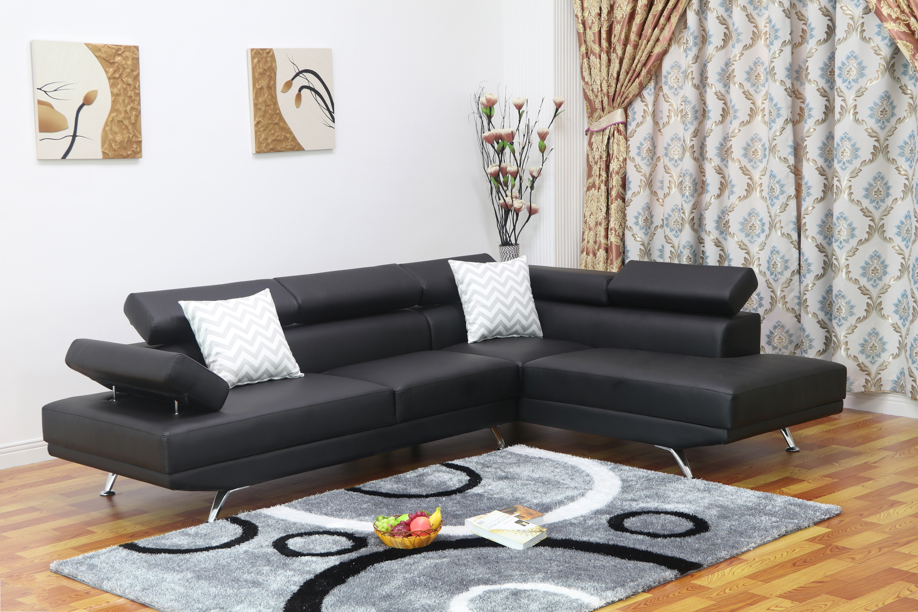 Sofia 2 pc Black Faux Leather Modern Living Room Right Facing Chaise Sectional Sofa set  sc 1 st  Walmart : black leather sectional couches - Sectionals, Sofas & Couches