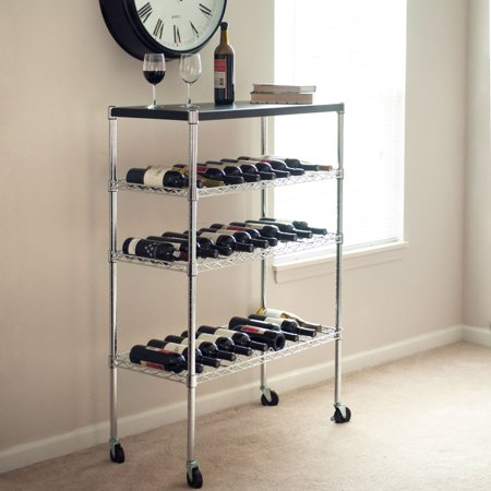 Lavish Home Rolling Chrome Wine Rack Cart Portable Bar