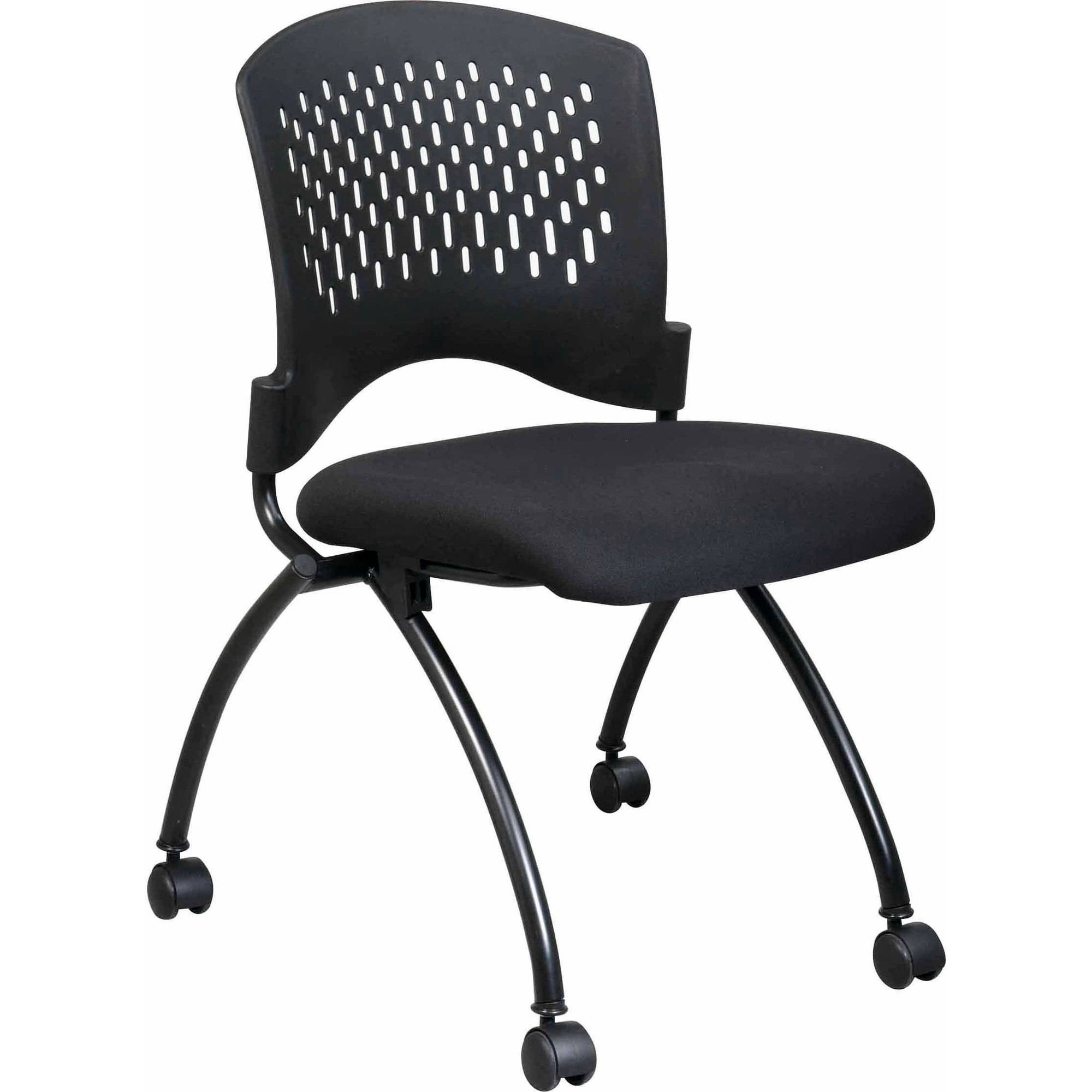 Office Star Pro Line II Deluxe Armless Folding Guest Chairs with Wheels, Titanium, Set of 2