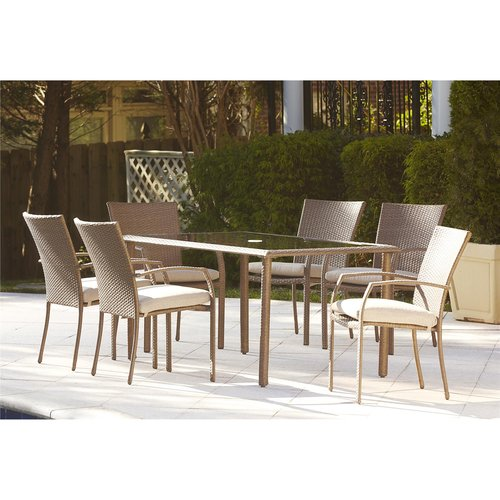 Cosco Outdoor 7 Piece Lakewood Ranch Steel Woven Wicker Patio Dining Set  With Cushions,