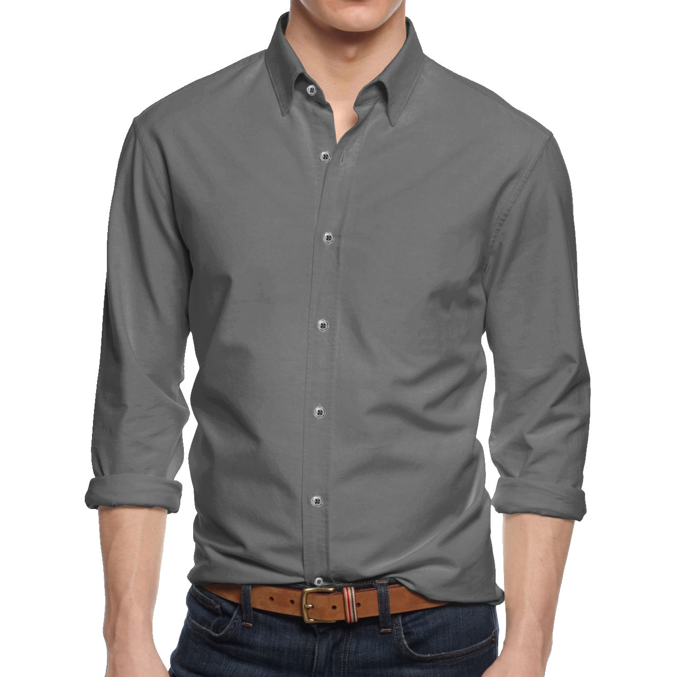 Alta Mens Long Sleeve Button Down Cotton Slim Fit Pointed Collar