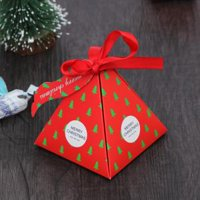 Fancyleo 6 Pieces Christmas Box Triangle Box Paper Candy Favor Boxes for Wedding Party Favor Gifts