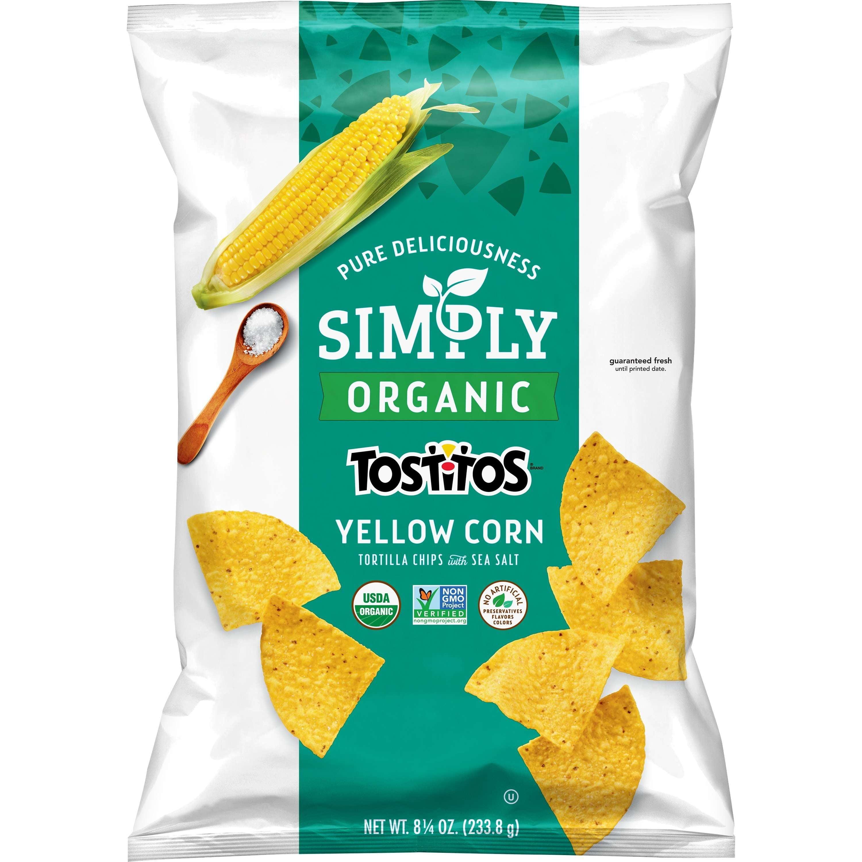 (3 Pack) Simply Tostitos Organic Yellow Corn Tortilla Chips, 8.25 oz Bag
