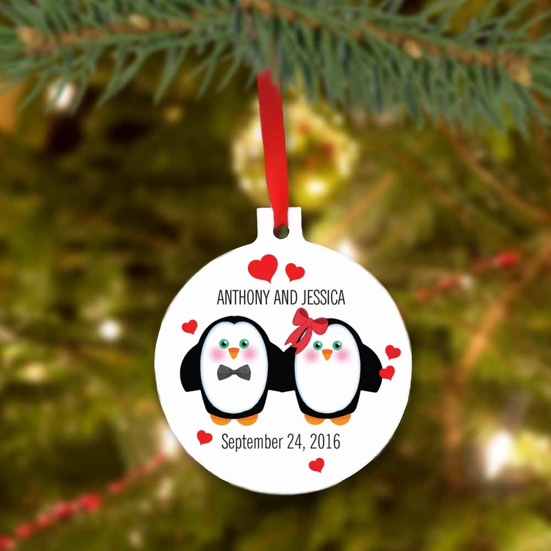 Custom Christmas Penguin Couple Tree Ornament