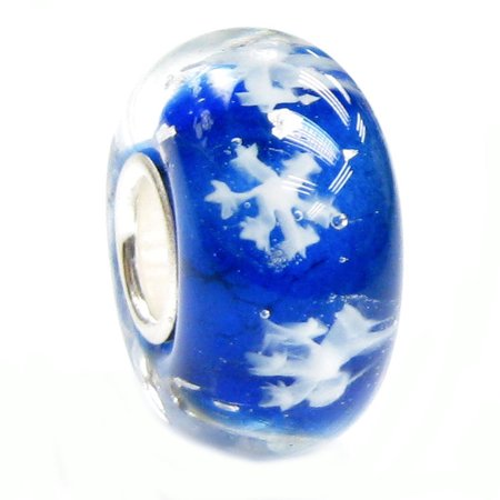 Queenberry Sterling Silver Blue Snowflake European Style Glass Bead Charm Fits Pandora