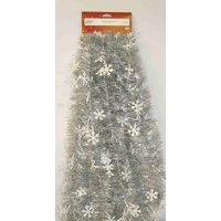 Holiday Time Tinsel Garland, White Snowflakes with Silver Center