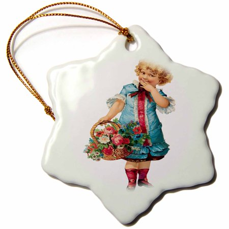 3dRose Cute Little Girl Dressed in Blue Carrying a Basket of Assorted Flowers, Snowflake Ornament, Porcelain, 3-inch Dress Basket
