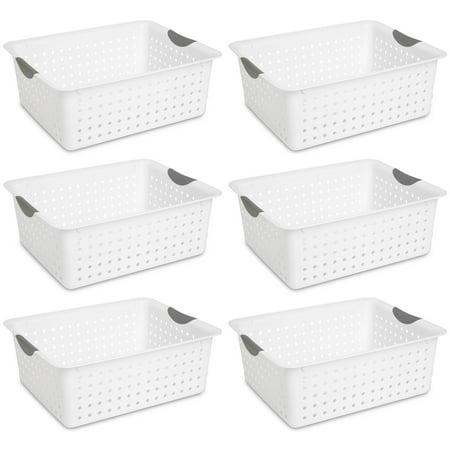 Sterilite Large Plastic Bin Organizer Storage Basket w/ Handles, White (6 Pack) - image 1 of 5