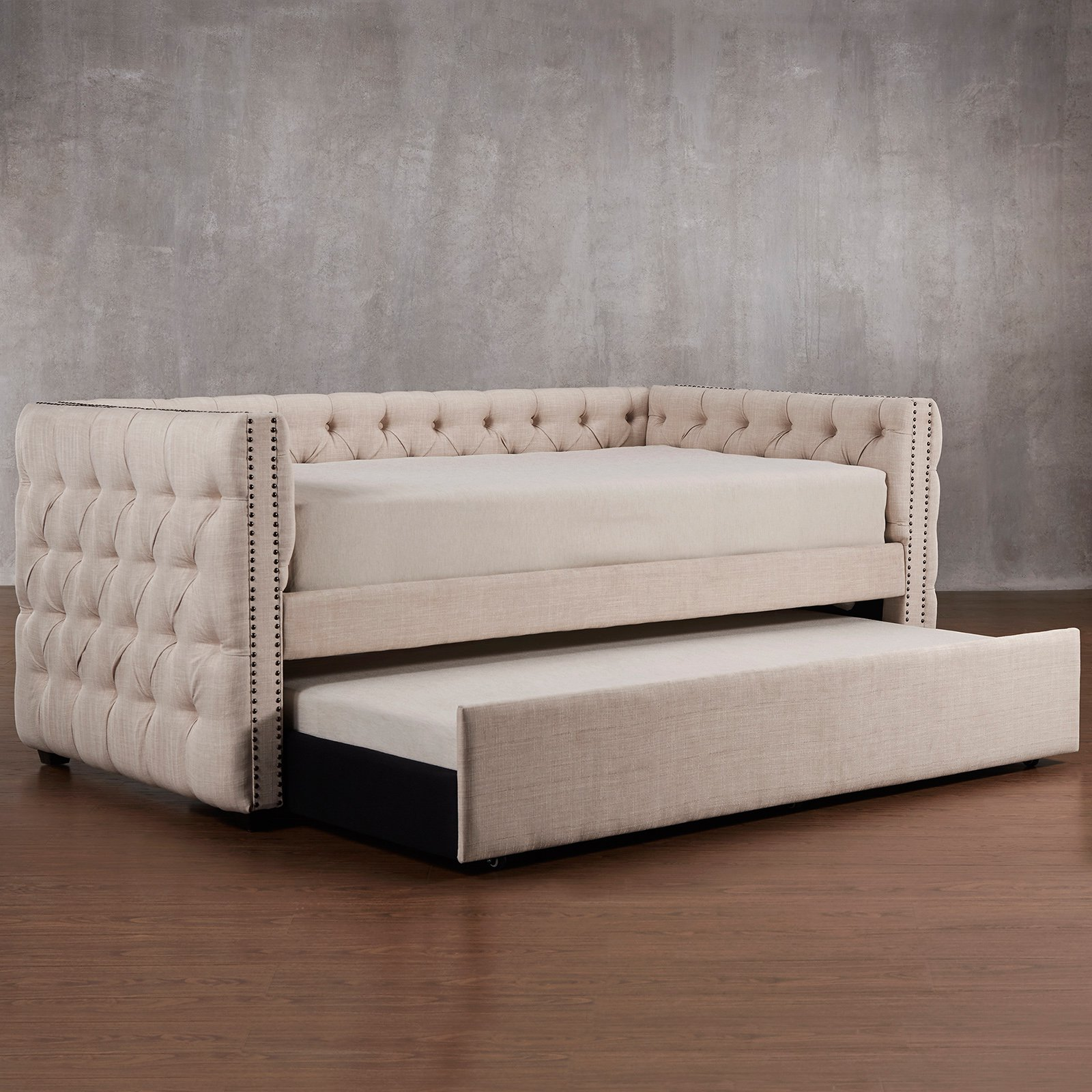 chelsea lane kenswick tufted upholstered daybed with trundle  walmartcom. chelsea lane kenswick tufted upholstered daybed with trundle