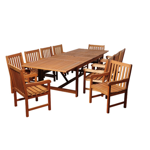 International Home Miami Alpha Eucalyptus 11 Piece Dining Set