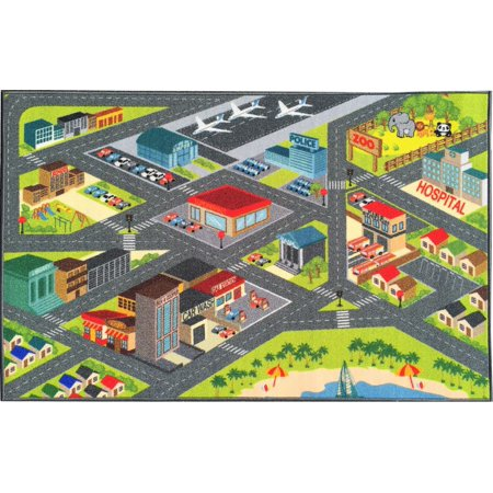 KC Cubs Playtime Collection Multicolored Polypropylene Road Map Educational Area Rug - 8'2