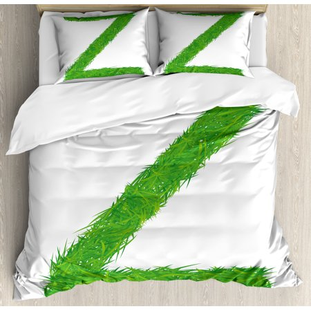 Letter Z King Size Duvet Cover Set  Spring Capital Z Made Out Of Grass Ladybug Butterfly Daisy Chamomile Flowers  Decorative 3 Piece Bedding Set With 2 Pillow Shams  Green Multicolor  By Ambesonne