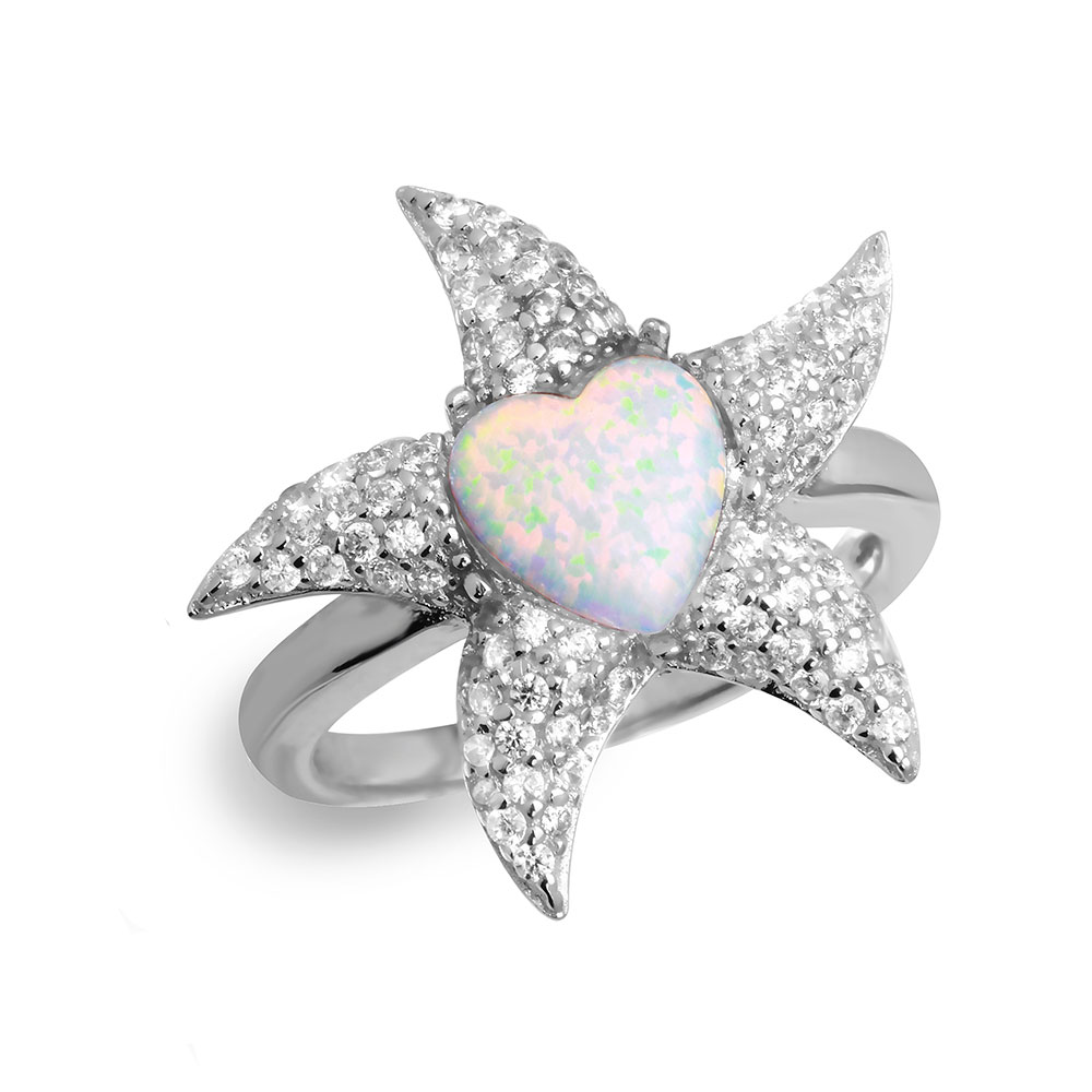 Heart White Simulated Opal Center Cubic Zirconia Pave Starfish Ring Sterling Silver Size 5