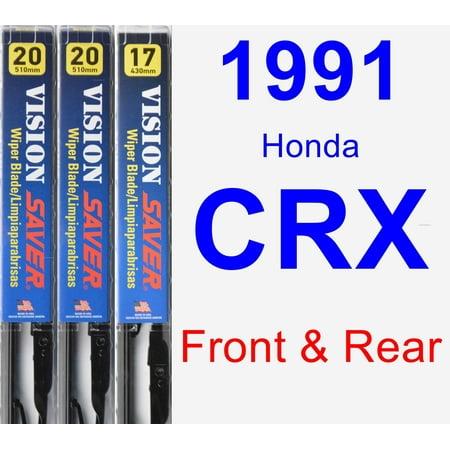 Crx Front Fender - 1991 Honda CRX Wiper Blade Set/Kit (Front & Rear) (3 Blades) - Vision Saver